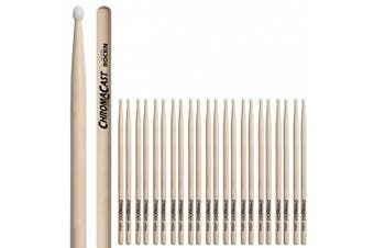 (ROCKN, 12 PAIRS) - ChromaCast CC-ROCKN-12 Rock USA Hickory Drumsticks with Nylon Tip, 12-Pair