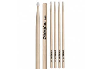 (7an, 3 PAIRS) - ChromaCast CC-7AN-3 7A USA Hickory Drumsticks with Nylon Tip, 3-Pair