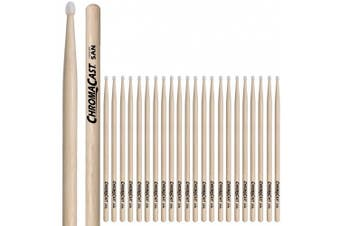 (5AN, 12 PAIRS) - ChromaCast CC-5AN-12 5A USA Hickory Drumsticks with Nylon Tip, 12-Pair