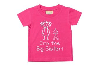 (0-6 Months) - I'm The Big Sister Pink Tshirt Baby Toddler Kids Available in Sizes 0-6 Months to 14-15 Years New Baby Sister Gift