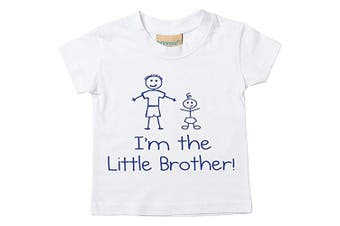 (5-6 Years) - I'm The Little Brother White Tshirt Baby Toddler Kids Available in Sizes 0-6 Months to 5-6 Years New Baby Brother Gift