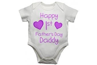 (Newborn) - Happy 1st First Fathers Day Daddy Girls Baby Vest Bodysuit Baby Grow (Newborn)