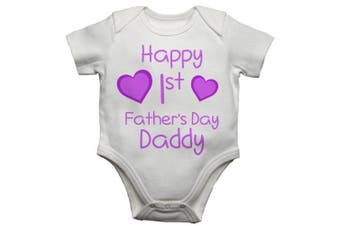 (6 - 9 Months) - Happy 1st First Fathers Day Daddy Girls Baby Vest Bodysuit Baby Grow (6 - 9 Months)