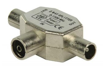 C4A® TV Aerial Splitter - Metal TV Coaxial Male to 2x TV Coaxial Female / Aerial Cable Joiner