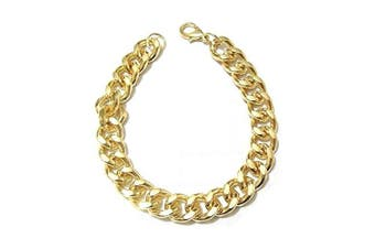 Gold Finish Chunky Double Curb Bracelet Bangle Party Fashion Jewellery