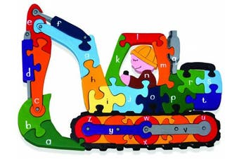 Handcrafted Wooden Alphabet Jigsaw Puzzle for Children - Digger Design