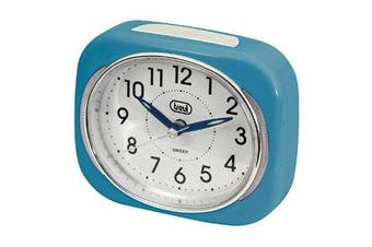 (Blue) - Trevi Retro Bedside/Travel Alarm Clock with LED Backlight and Silent Sweep Second Hand, Blue, 10x3.6x8 cm