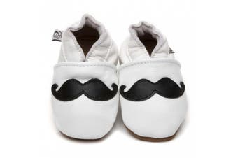 Soft Leather Baby Shoes Moustache White 3-4 years