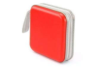 Accessotech Red CD Dvd 40 Disc Storage Carry Case Cover Wallet Holder Bag Plastic Games Disc