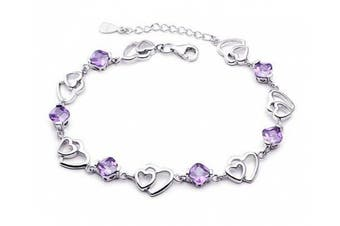 findout ladies. element silver Solidarity and double heart-shaped amethyst bracelet (f20)