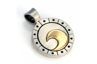 Bico Wave Rider 2-Toned Pendant (T8) - change and the passage of time - Silver and Gold Finish Tribal Street Jewellery