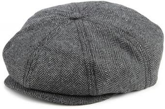 (Large, grey/black herringbone) - Brixton Brood Uni Cap