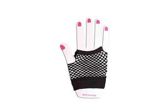 (Black) - Childrens Kids Short Fishnet Gloves 1980s Fancy Dress Dance 4-12 Years (Black)