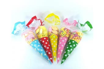 (Red, 100) - Cellophane Cone Bags - Polka Dot with Twist Ties - Red - Choose your quantity - blu SKIDDOO TM