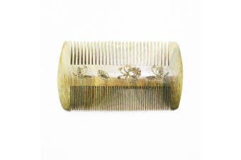 Breezelike No Static Green Sandalwood Double Side Pocket Wide Tooth and Fine Tooth Comb with Butterfly and Lotus Carving
