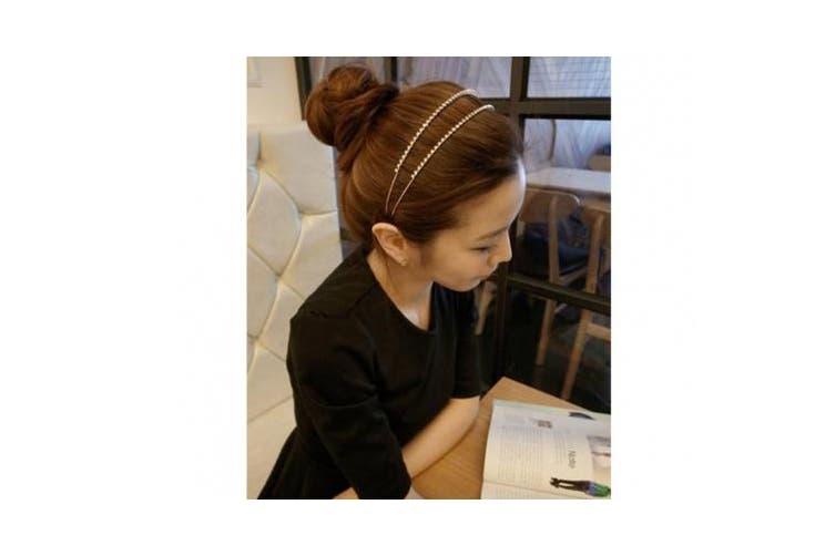 BONAMART® TM Silver NEW ARRIVAL Double Rhinestone Crystal Handcraft Girl Women Bow-knot Hair Hairband Hair Band Headband Accessories