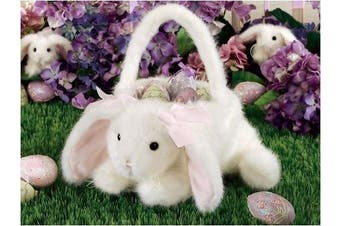 (White Bunny) - Kids Easter Egg Baskets by Bearington Collection BUNNY