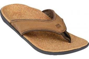 (11 D(M) US, Medium Brown) - Spenco Yumi Leather - Men's Flip Flop Sandals