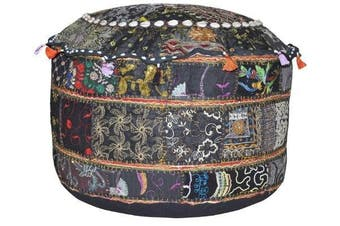 Indian Patchwork Pouffe Cover Indian Living Room Pouffe, Decorative Ottoman,Embroidered Designer Ottoman, Home Living Footstool Chair Cover, Bohemian Ottoman Pouffe Decor 36cm x 60cm .