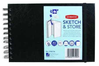 (A5, Landscape) - Derwent Sketch and Store Sketch Book, A5, Landscape, 21cm x 15cm Page Size, Wirebound, 56 Pages (2102176)