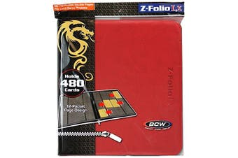 (Red) - 12-Pocket Z-Folio LX Trading Card Albums, Red