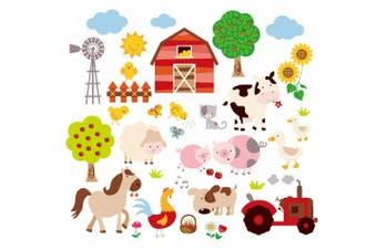 Farm Friends Baby/Nursery Peel & Stick Wall Art Sticker Decal
