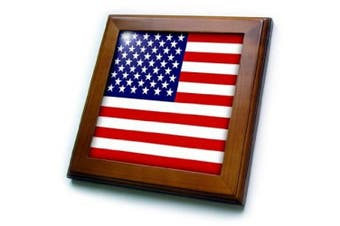 (8x8 Framed Tile) - 3dRose ft_112805_1 American Flag-Patriotic USA Stars and Stripes Red White and Blue-4th July America Patriot-Framed Tile, 20cm by 20cm
