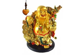 Betterdecor- A Golden Happy Buddha (Laughing Buddha) with a Ingot and Money for Feng Shui or Gifts