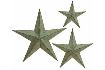 Decmode Set of Three - 12, 18, and 60cm Decorative Silver Iron Star Decor, Taupe