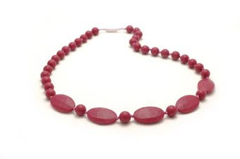 (Very Berry) - Bitey Beads Silicone Teething Nursing Necklace 80cm (Very Berry)