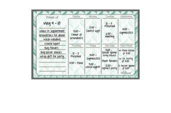 (Teal Herringbone) - Dry Erase Magnet Weekly Calendar Teal Herringbone