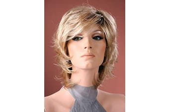 Forever Young Ladies Short Wig Tousled Layers Light Blonde with Dark Roots Fashion Wig