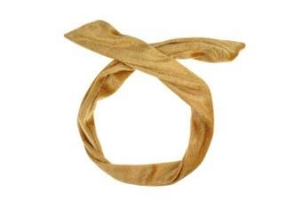 (Beige) - Velvet Wire Headband Hair Band Vintage Retro Bendy Wrap