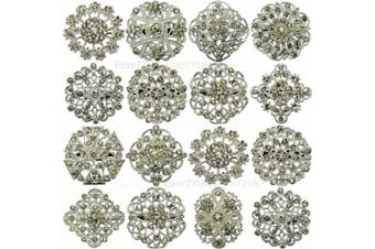 NEW 12pcs MIX SILVER FLOWER PIN BROOCHES RHINESTONE DIAMANTE CRYSTAL JOBLOT BRIDAL BROOCH WEDDING BOUQUET BROACH WHOLESALE LOT DIY UK SELLER