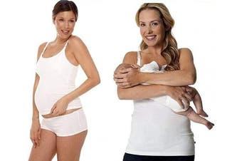 (XL 14-16, White) - Maternity Breastfeeding top vest for easy breast feeding 8 10 12 14 16 18 colours black white or grey nursing