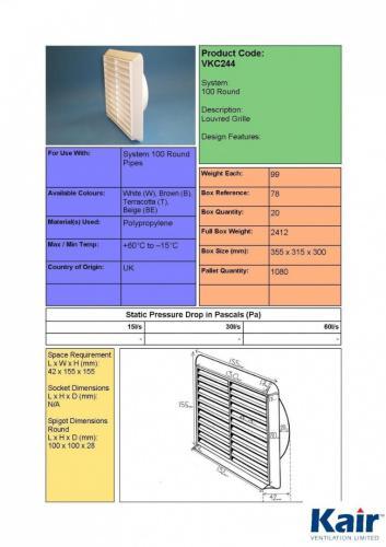 SYS-100 100mm Round Spigot Beige Kair Louvred Air Vent Wall Grille DUCVKC244-BG by Kair