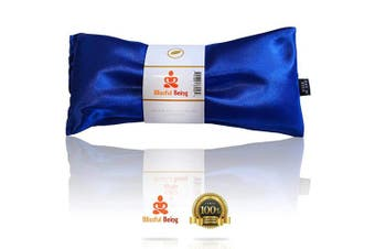 (Sapphire) - Blissful Being Lavender Eye Pillow - Hot or Cold Weighted Aromatherapy Eye Mask perfect for Sleeping, Yoga, Migraines - Gifts for Women, Birthday, Teachers - Natural Herbal Stress Relief (Sapphire)