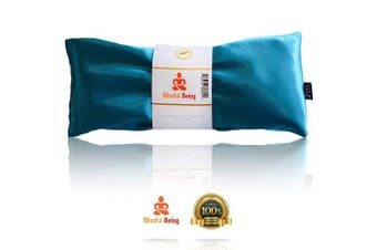 (Aqua) - Blissful Being Lavender Eye Pillow - Hot or Cold Weighted Aromatherapy Eye Mask perfect for Sleeping, Yoga, Migraines - Gifts for Women, Birthday, Teachers - Natural Herbal Stress Relief (Aqua)