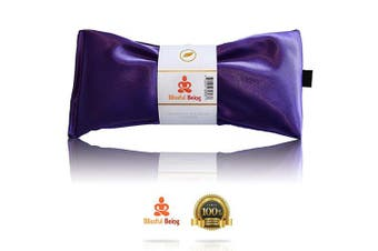 (Amethyst) - Blissful Being Lavender Eye Pillow - Hot or Cold Weighted Aromatherapy Eye Mask perfect for Sleeping, Yoga, Migraines - Gifts for Women, Birthday, Teachers - Natural Herbal Stress Relief (Amethyst)