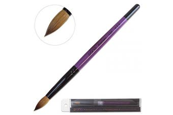 (Size 12) - Profession Purple Wood Kolinsky Acrylic Nail Brush (Size: 6, 8, 10, 12, 14, 16, 18, 20, 22) PANA Brand High End Quality 100% Pure Kolinsky Hair (Size 12)