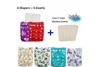 (girl color 9) - Baby Adjustable Reuseable Pocket Cloth Nappy Nappy 6PCS + 6 Inserts 6FG09