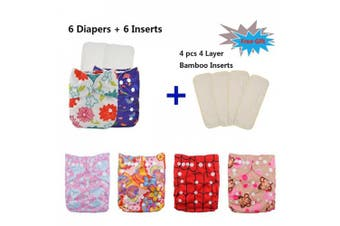 (One Size, Girl Color 27) - Babygoal Baby Cloth Nappies for Girls, One Size Reusable Washable Pocket Nappy, 6pcs Nappies+ 6pcs Microfiber Inserts+4pcs Bamboo Inserts 6fg27