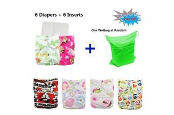 (Girl color21) - Babygoal Reusable Washable Pocket Cloth Nappies for Baby Girls, 6pcs Cloth Nappies+6pcs Microfiber Inserts+4pcs Bamboo Inserts 6FG21