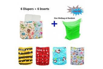 (One Size, Boy Color 12) - Babygoal Baby Reusable Cloth Nappies, Adjustable Pocket Nappy 6pcs Nappies+6pcs Microfiber Inserts+4pcs Bamboo Inserts 6FB12