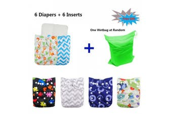 (One Size, Boy Color 15) - Babygoal Baby Cloth Nappies Washable Pocket Nappy, 6pcs Cloth Nappies+6 Inserts+4pcs Bamboo Inserts,Boy Colour 6FB15