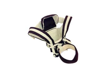 (Beige) - 4 Position Baby Carrier for Newborn to Toddler - Sling, Front Facing, Rear Facing, and Backpack with Head Support Shade and Lumbar Waist Belt- Beige - Family First Enterprises