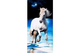 White horse brazilian velour beach towel 80cm x 150cm