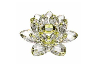 Amlong Crystal High Quality Hue Reflection Crystal Lotus Flower with Gift Box, 7.6cm , Yellow