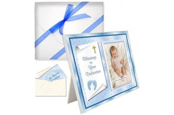 """Baby Blessing Dedication Picture Frame Gift """"Blessings on Your Dedication"""" - Boy"""