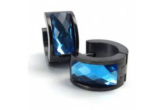 AnaZoz 1 Pair Fashion Jewellery Stainless Steel Men's Hoop Stud Earrings Set Hinged Blue Black